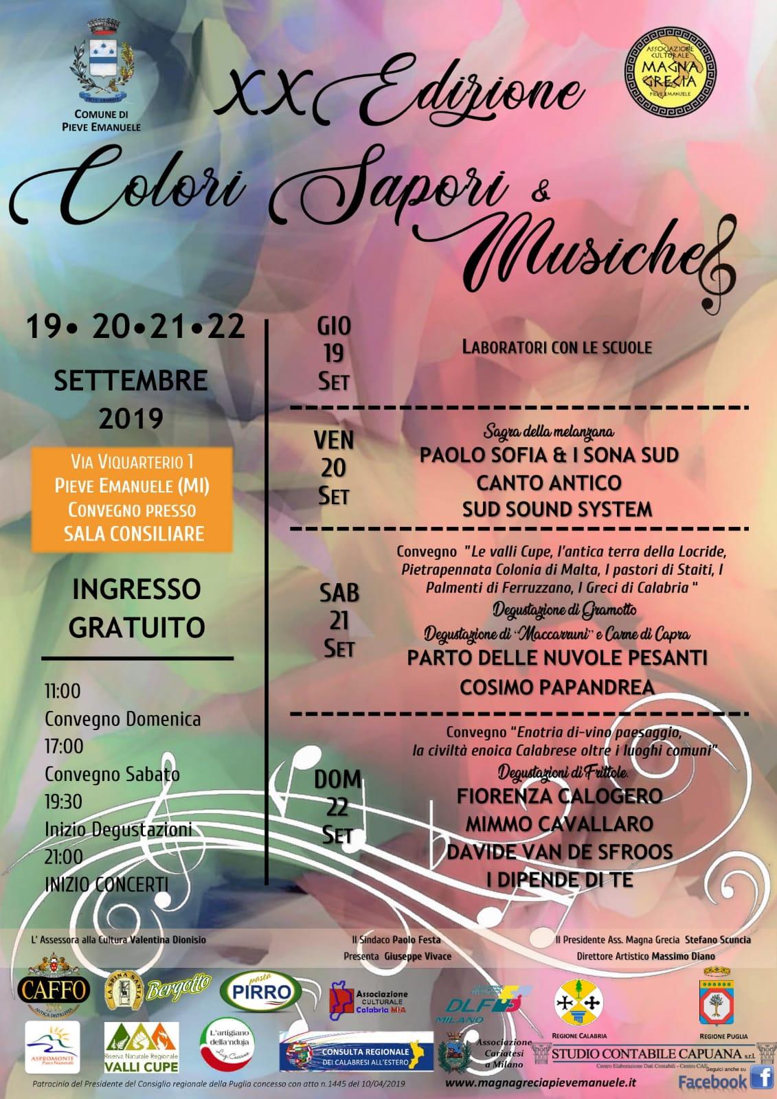 Calendario Concerti Calabria.Il Calendario Di Colori Sapori Musiche 2018